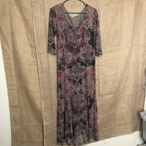 Peruvian Connection S Maxi Dress 3/4 Sleeve Print